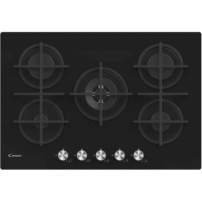Candy CVG74WPB Plaque de cuisson à gaz en verre, 5 feux, 480 x 560 x 42 mm, noir A179