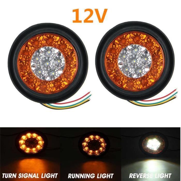 2pc 12V White Yellow -Feu arrière rond LED ambre rouge 16LED 12V-24V, feu de Stop et marche arrière pour voiture camion remorque