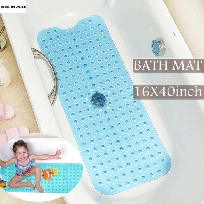 XICHAO - 100 x 40 cm Tapis de Baignoire Antidérapant Transparent longue pour salle de bain couleurs pur