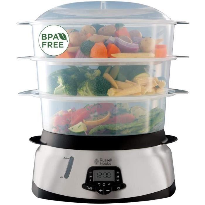 Russell Hobbs Cuiseur Vapeur 10,5L, Digital, Programmable, Cuisson Légumes, Riz, Œufs, Compatible Lave-Vaisselle - 23560-56 Maxicook