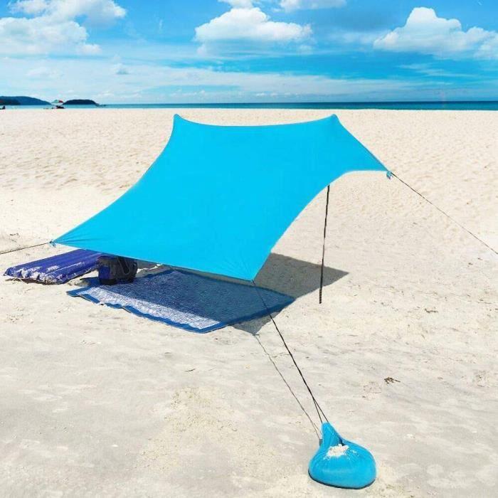 Plage de Tente avec Sac de Sable Ancres - 210 cm x 210 cm Le Camping Randonnée Pêche Pique-Nique