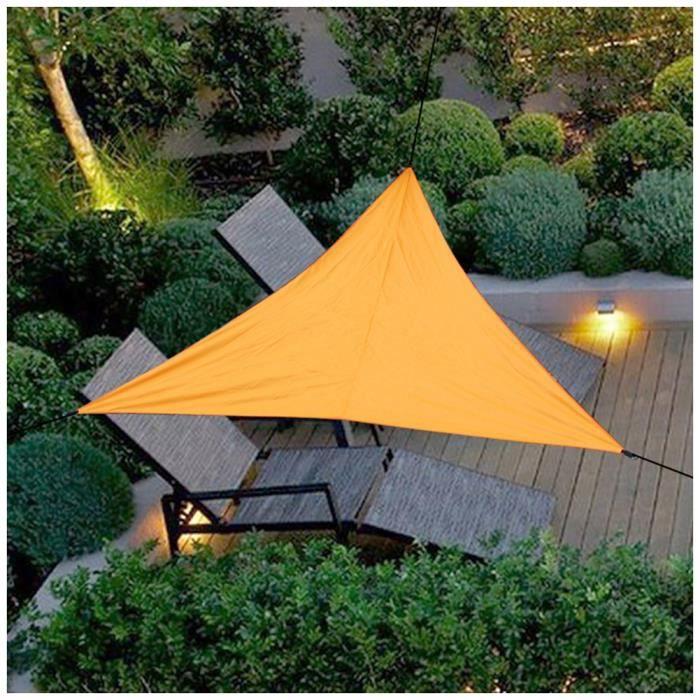 Voile d'Ombrage,Auvent Imperméable UV Protection Voile d'Ombrage Triangulaire Voile de Soleil pour Jardin Camping,Orange,3x3x3M