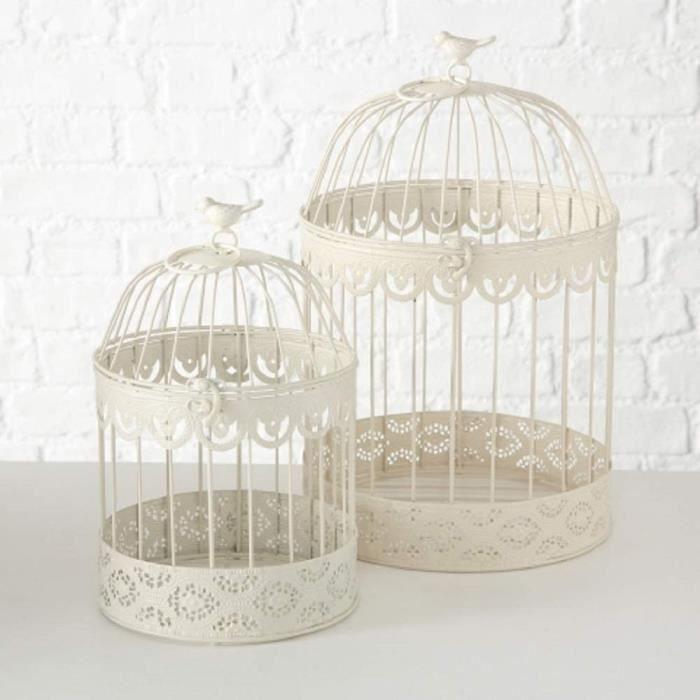 CAGE DECORATIVE Home Collection Lot de 2 cage &agrave oiseaux en m&eacutetal - Hauteur : 30-39 cm - Blanc cr&egraveme272