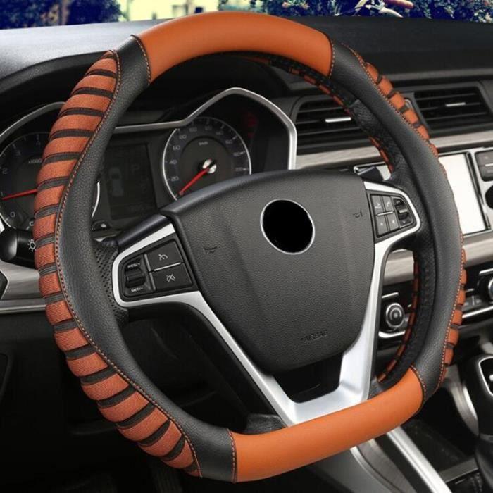 Couvre volant,Housse de volant de voiture, pour citroën C3 XR C4 Sega C4L Elysee DS3 DS4 DS5 DS3 Audi TT RS7 S3 S5 - Type Orange