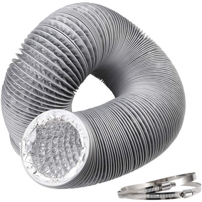 ø150mm Tuyau d'Evacuation Flexible en Aluminium&PVC Tube de Ventilation pour Extracteur d'Air,Climatisation,Sèche-linge-5m