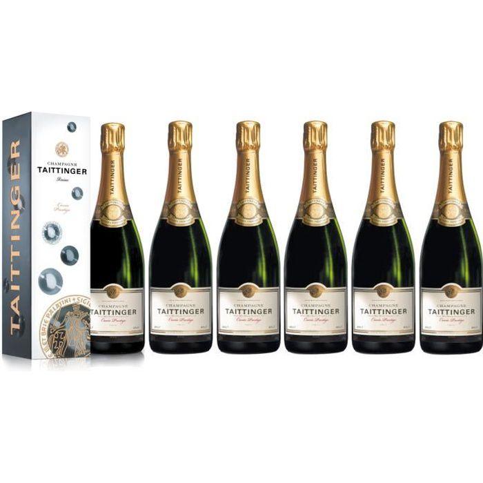 Lot 6 Champagnes Taittinger Brut Cuvée Prestige 75cl Etuis