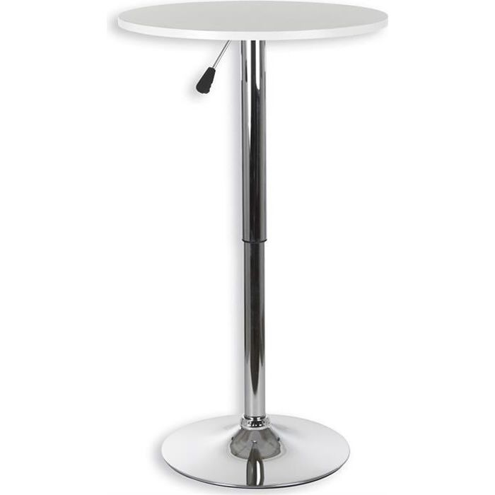 Table haute de bar VISTA MDF laqué blanc mat