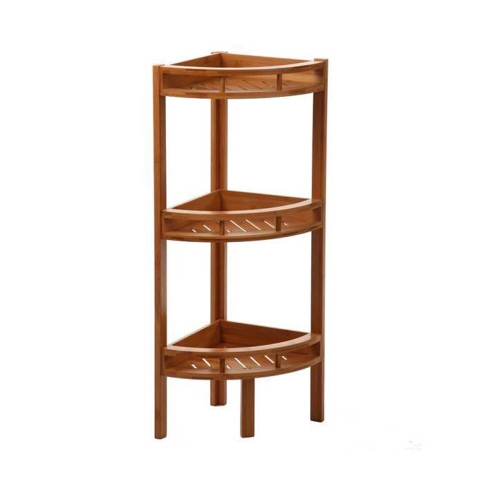 Etagère d'angle en bambou 3 niveaux