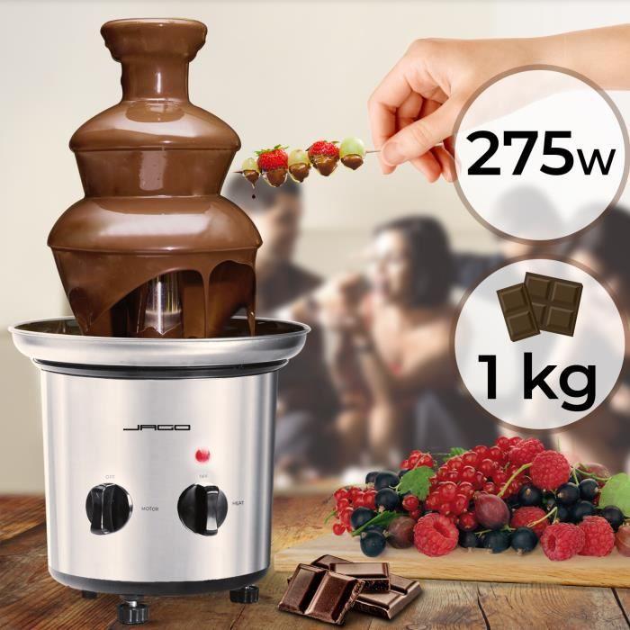 Fontaine à Chocolat - 3 Étages, Capacité 1 kg, Électrique, 275 W, H 39cm, en Acier Inoxydable, Argenté - Fondue au Chocolat, Fruits