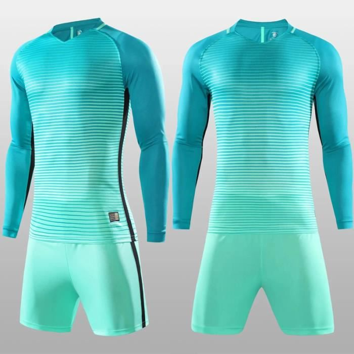 Gardien de but Jersey Costume Sport Porter Protecteur Portier Football Éponge Protecteur Mâle Gardien de but Training-light blue