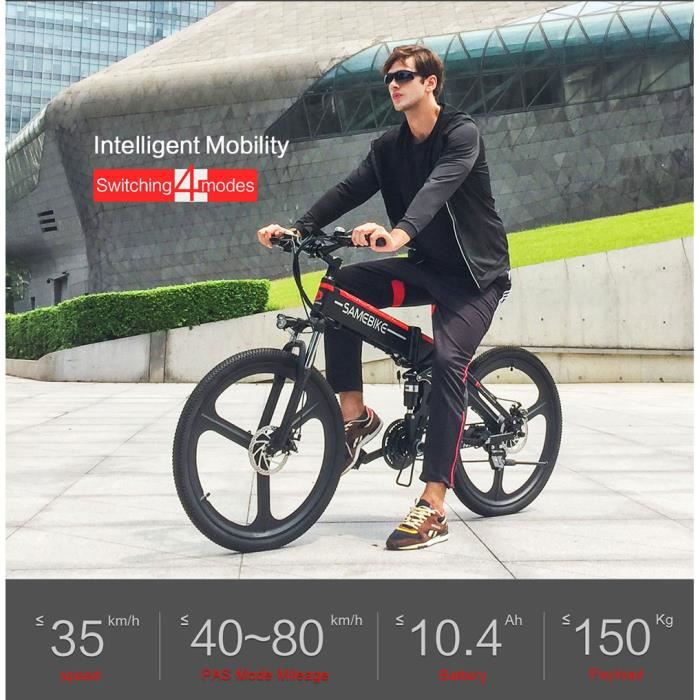 Vélo électrique Ebike pliant-Samebike LO26 Velo Assistance Electrique Cyclomoteur E-Scooter Adulte -350W-35 km/h-LCD USB pliable