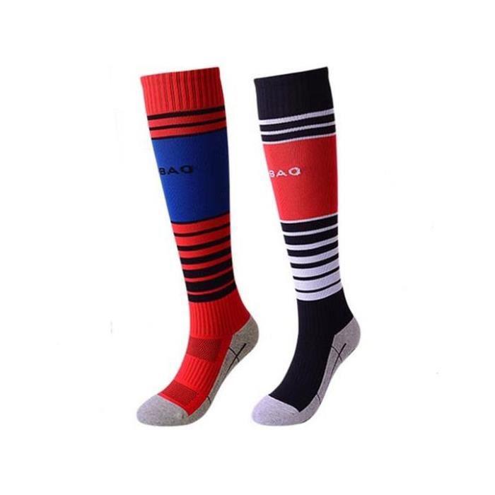 Lot de 2 Paires Chaussettes de Football Enfant Chaussettes de Sport Protection Respirantes Antidérapant - Noir-rouge Noir