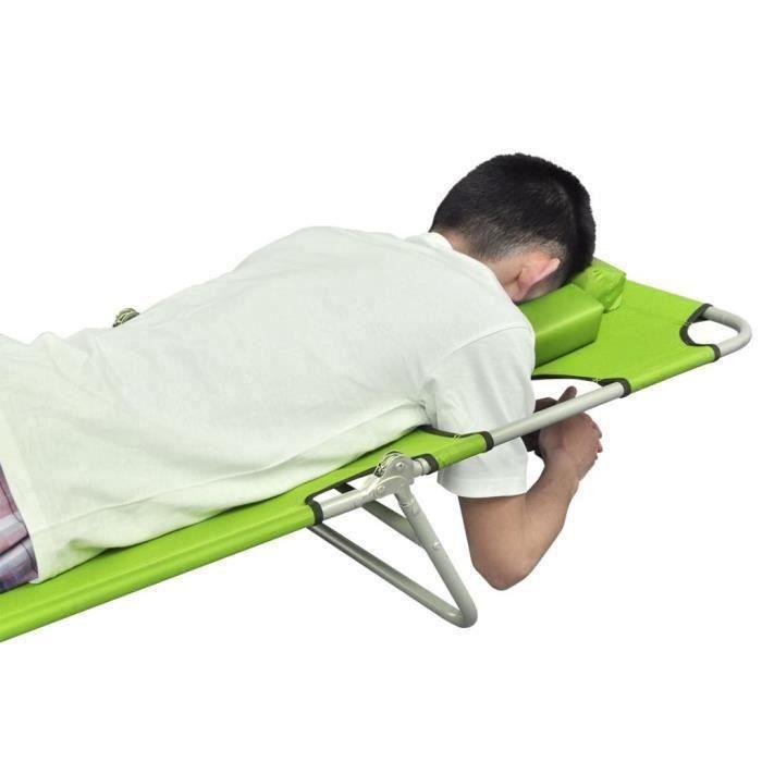 Chaise Longue de Jardin,Chaise Longue pliante,Bain de Soleil Transat avec coussin de tête Acier enduit de poudre Vert