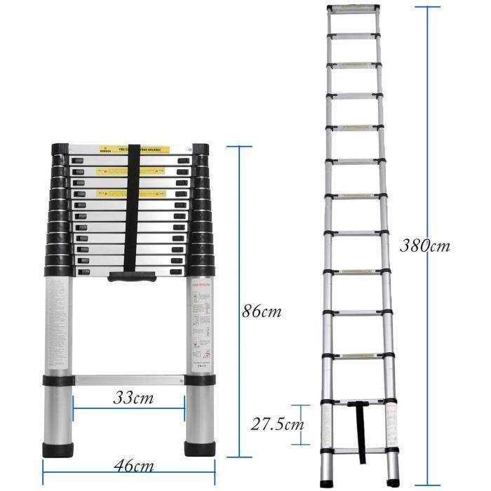 3.8M Échelle télescopique télescopique multifonction en aluminium