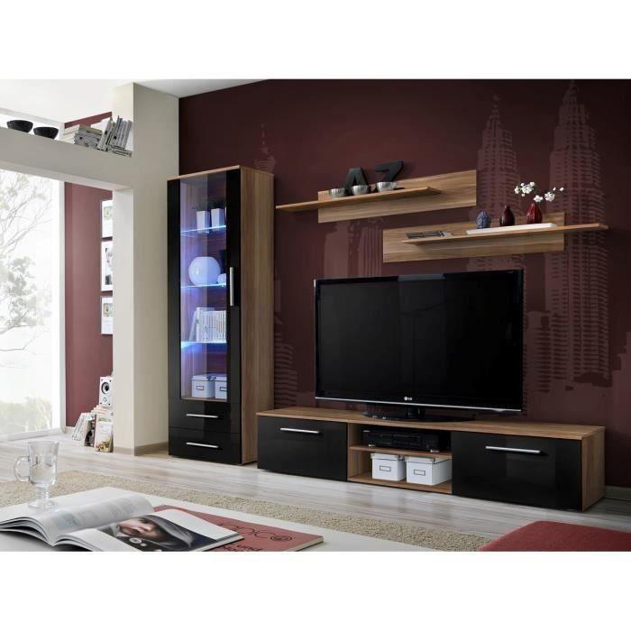 Meuble TV GALINO A design, coloris prunier et noir brillant. Meuble moderne et tendance pour votre salon. 37 Noir