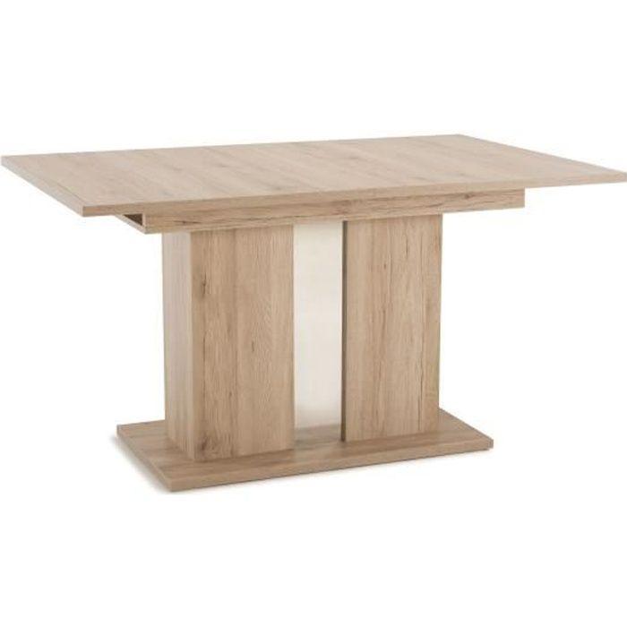 THEA Table Repas Extensible L 140 + 40 cm Bois Naturel