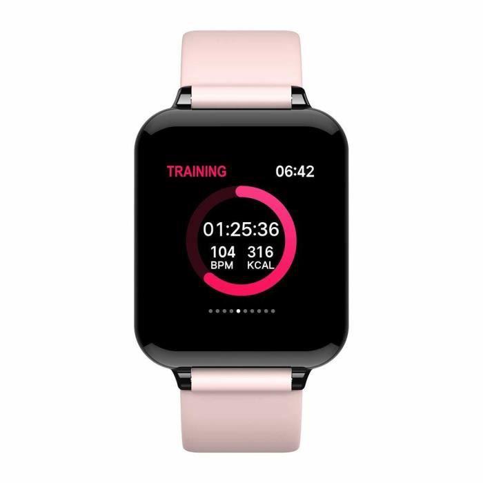 Montre Connectée Femmes Homme Montre Sport Avec étanche Moniteur de fréquence Cardiaque Tracker Fitness Montre pour Android iOS-Rose