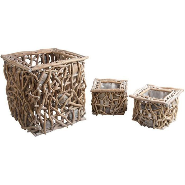3 cache pot en bois flott et galets jcp287s achat vente jardini re pot fleur 3 cache pot. Black Bedroom Furniture Sets. Home Design Ideas