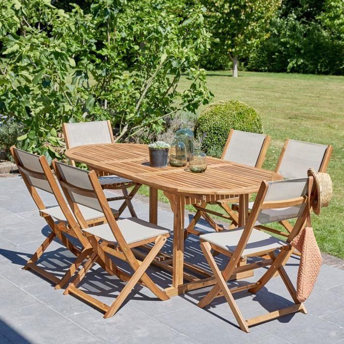 Salon de jardin en bois d\'acacia FSC extensible 6-8 places