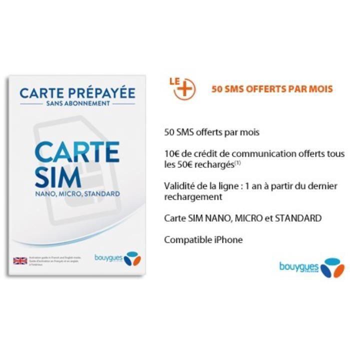 Kit Sim Prepaid Bouygues Telecom V2 Achat Carte Sim Pas Cher