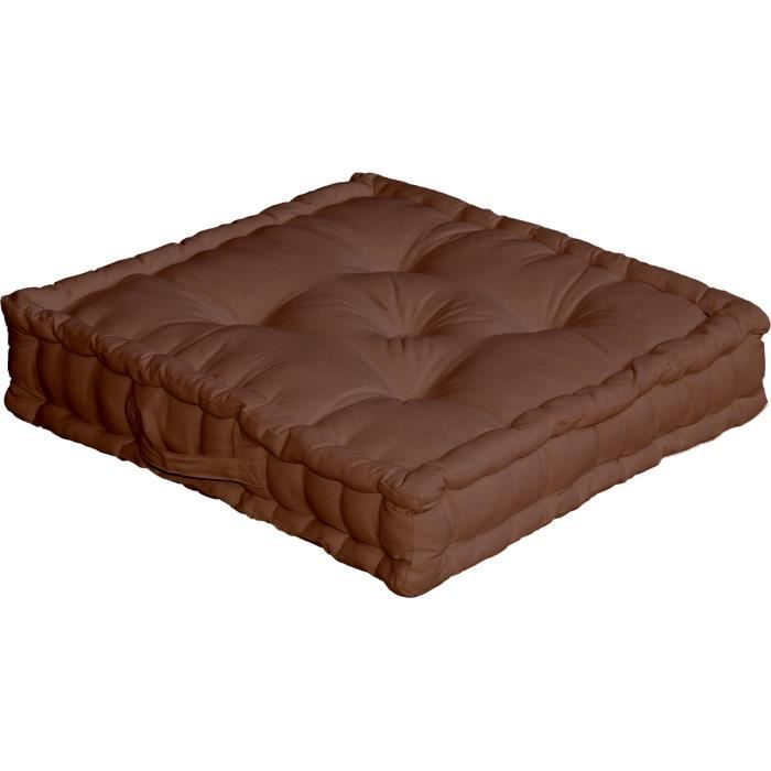coussin de sol 50x50 cm chocolat achat vente coussin cdiscount. Black Bedroom Furniture Sets. Home Design Ideas