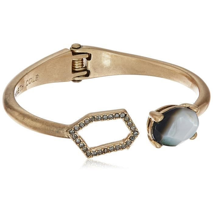 Kenneth Cole New York Tectonic Plates Pave Geometric Link & Stone Hinged Bangle Bracelet RPSBJ
