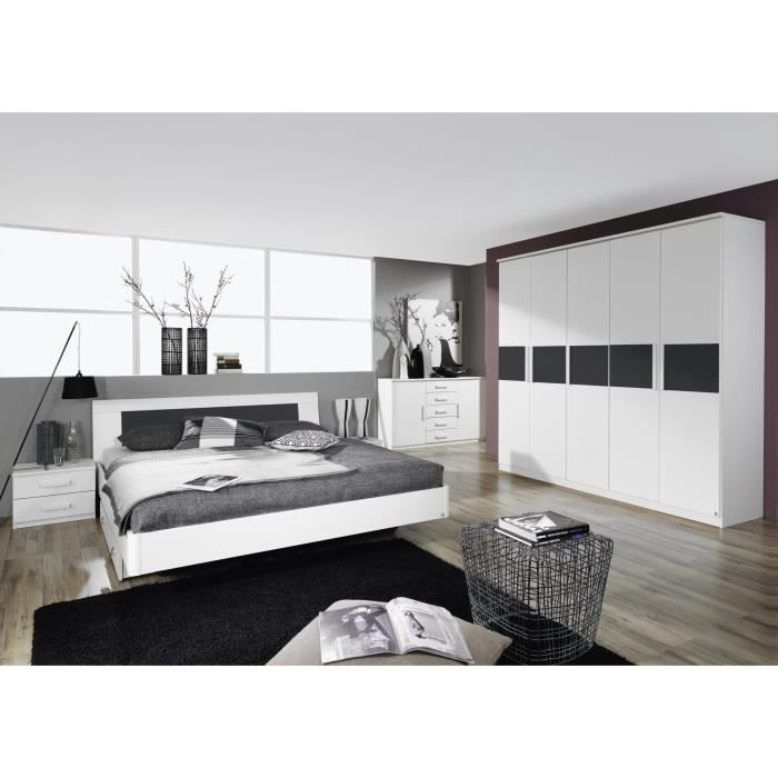 Chambre adulte design blanche carcassonne 180 x 200 cm for Chambre adulte complete solde