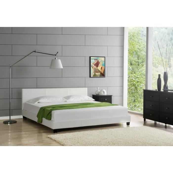 lit 160x200 elise pu blanc achat vente structure de lit cdiscount. Black Bedroom Furniture Sets. Home Design Ideas