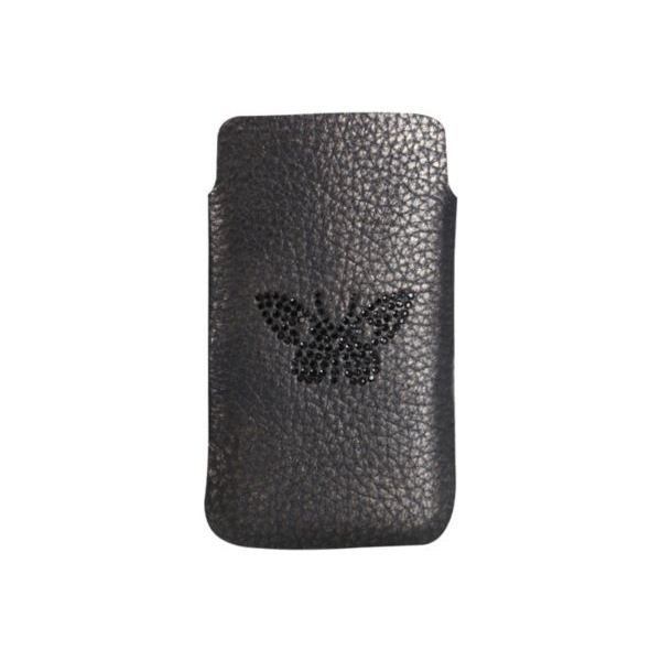 Etui iphone 5 pouch cuir noir motif papillon achat for Housse iphone 5 c