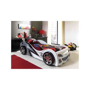 lit voiture blanc achat vente lit voiture blanc pas cher cdiscount. Black Bedroom Furniture Sets. Home Design Ideas