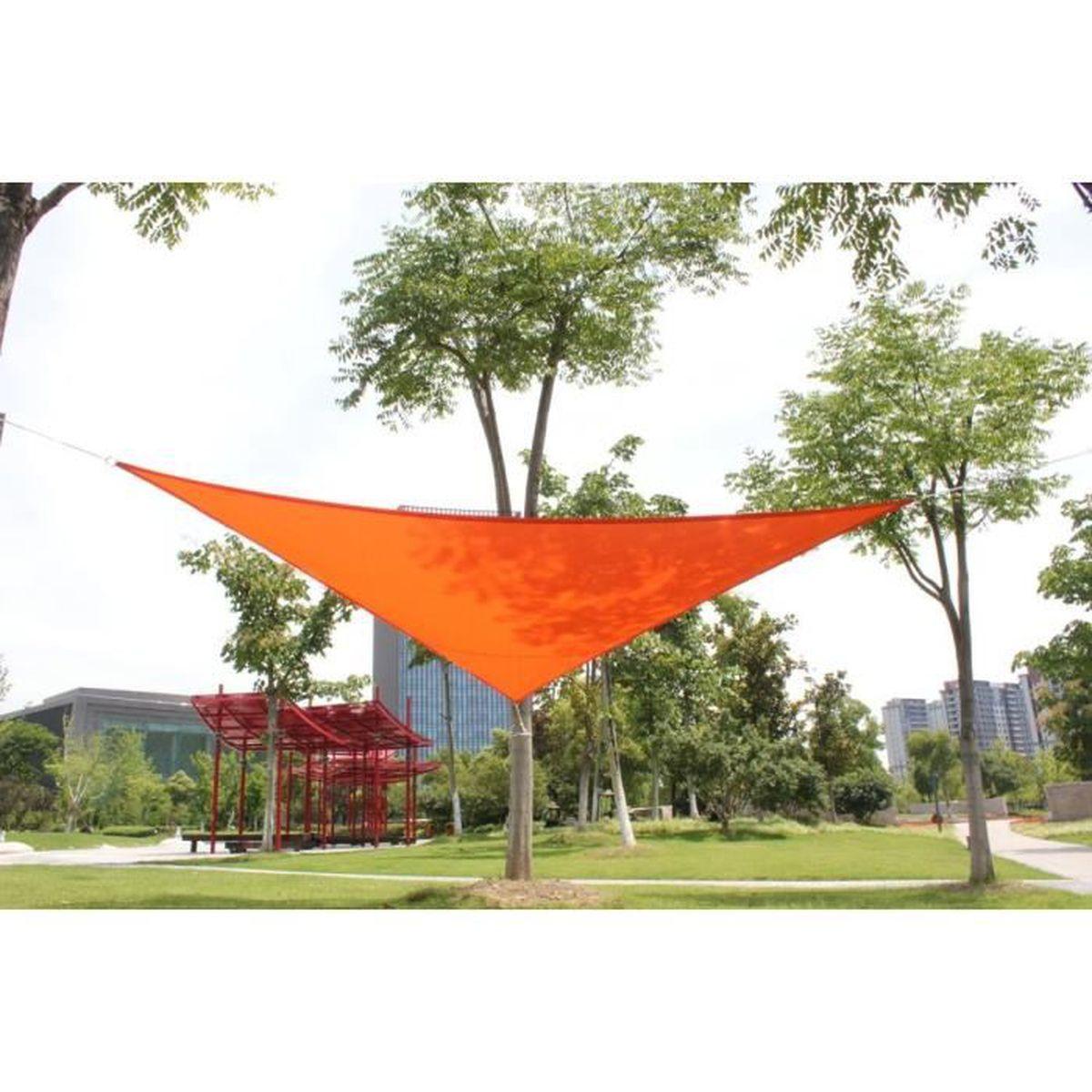 Voile D Ombrage Imperméable laxllent voile d'ombrage triangulaire 3x3x3m,toile d'ombrage anti uv en  100% polyester imperméable pour jardin&terrasse,orange