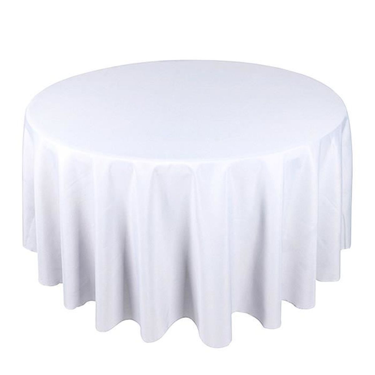 lot de 5 blanc tissu de table ronde 330cm mariage polyester nappe achat vente nappe de table. Black Bedroom Furniture Sets. Home Design Ideas