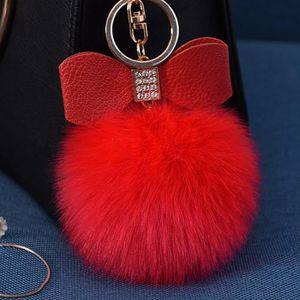 PORTE-CLÉS Porte-clés Diamant de fourrure de lapin boule Fox