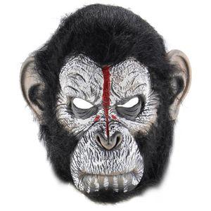 Adulte SINGE APE Gorilla Jungle Animal Costume d/'animal Latex Masque marron avec fourrure