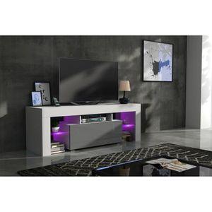 MEUBLE TV Meuble tv 130 cm blanc mat et gris laqué + led RGB