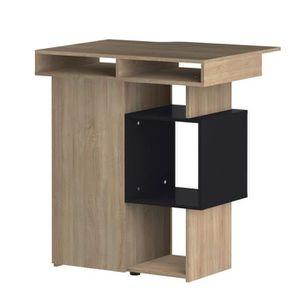 MANGE-DEBOUT Table bar vintage mélaminé décor chêne et noir - L