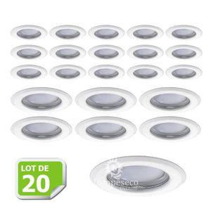 SPOTS - LIGNE DE SPOTS Lot de 20 Fixation de spot encastrable orientable