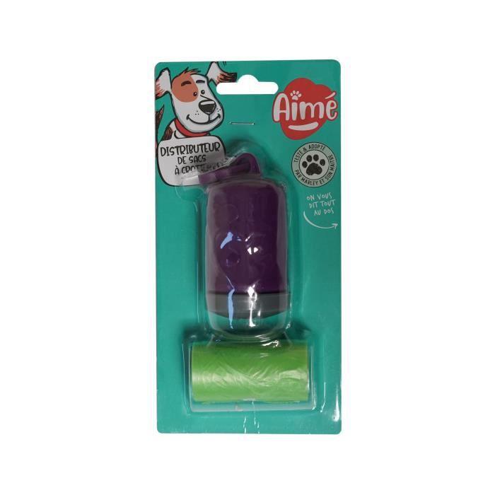 AIME Distributeur + 2 rouleaux de 15 sacs à crottes Clean and Fresh - Pour chien
