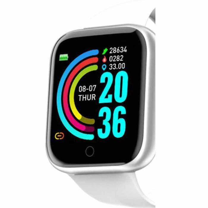 Montre Connectée Intelligente, Pression Artérielle Cardio Fréquence Smartwatch Bracelet Connecté Ecran Couleur Montre Sport Etanche