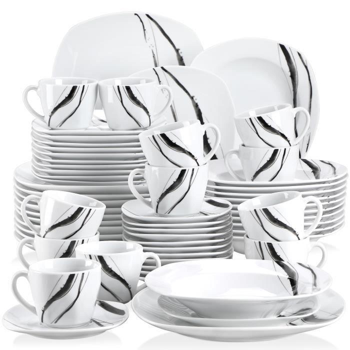 Veweet TERESA 60pcs Service de Table Porcelaine 12pcs Assiette Plate / Assiette à Dessert / Assiette Creuse / Tasse avec Soucoupes