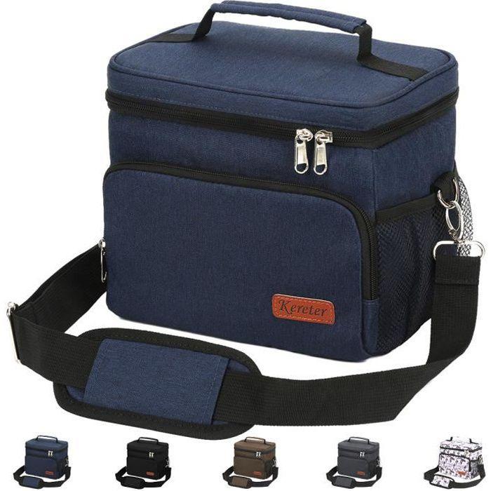 Sac Isotherme, sac repas portable réutilisable , sacoche homme,lunch box , bandoulière ajustable, glaciere souple isotherme -Bleu
