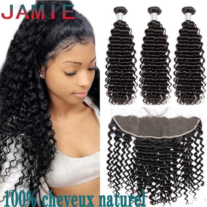 3 Tissage Brésilien Deep Curly + 13*4 lace closure 7A cheveux naturels humain-18-20-22-+16-