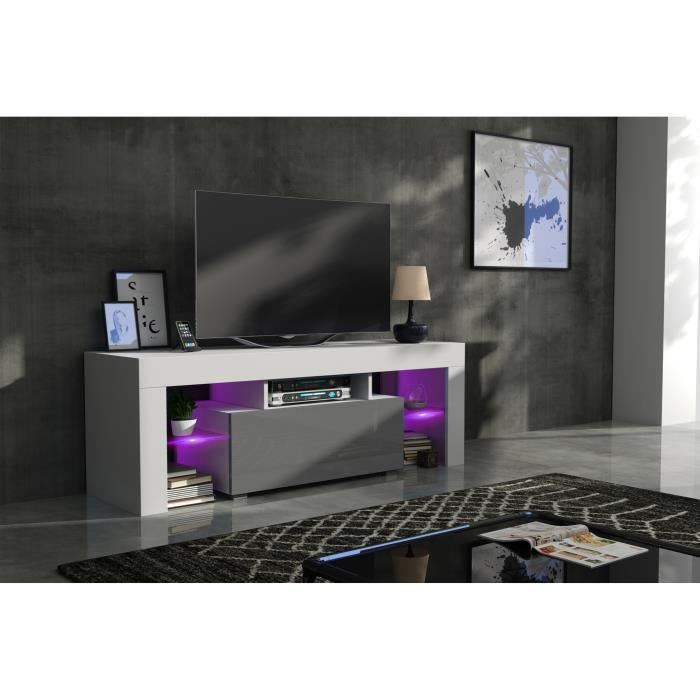Meuble tv 130 cm blanc mat et gris laqué + led RGB