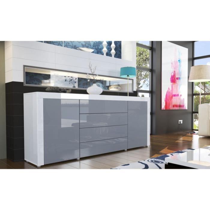 Buffet design laqué blanc / gris
