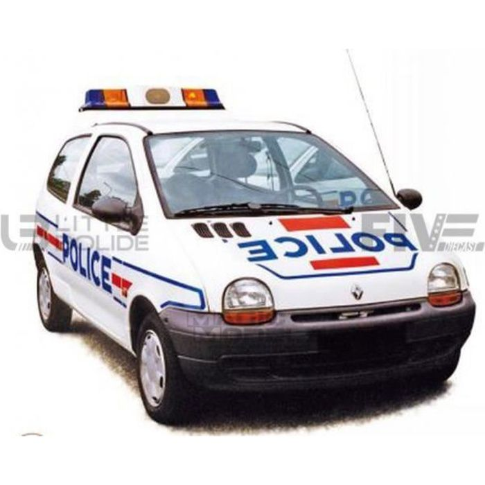 Voiture Miniature de Collection - NOREV 1/18 - RENAULT Twingo - Police 1995 - White / Blue / Red - 185296