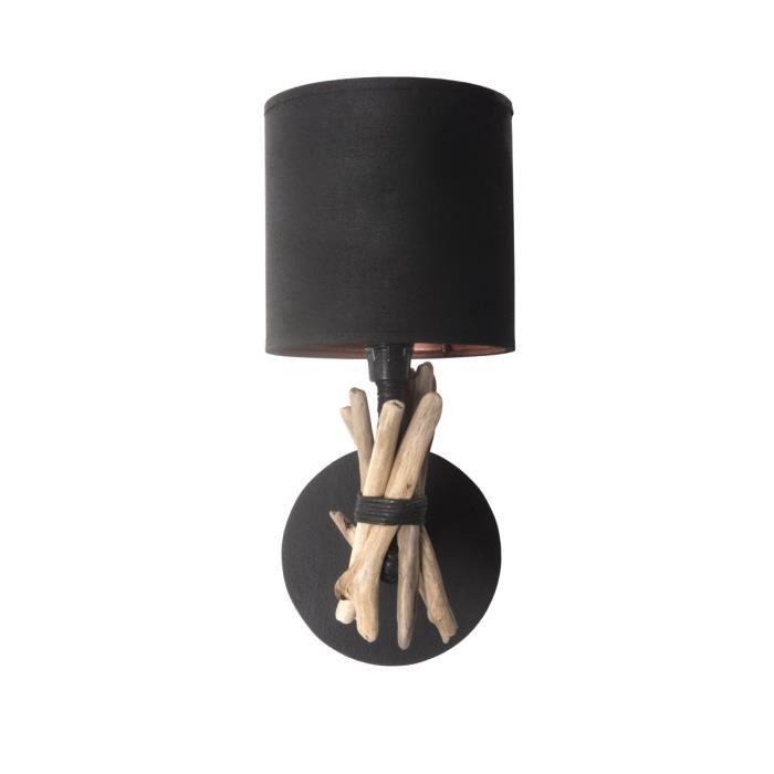 Lampe applique murale artisanale en bois flotté naturel - Fabriquée à la main en France