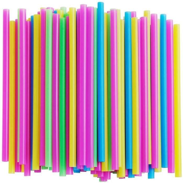 Multi Color -Pailles en plastique PP multicolores jetables, diamètre 12mm, Jumbo, pour Smoothie, bulle, thé, pour boire, accessoires