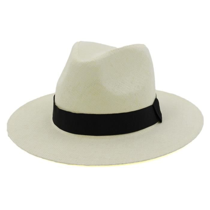 milk white Taille unique -Chapeau de paille d'été pour hommes et femmes, Chapeau de plage, Style britannique, Fedora, Sombrero