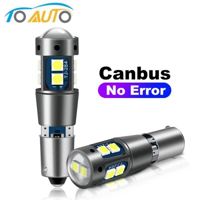 WHITE BAX9S -Ampoule Led BA9S BAX9S BAY9S, sans erreur Canbus, ampoule Led H21W T4W 10SMD 3030 puces, clignotant, feux de recul de t