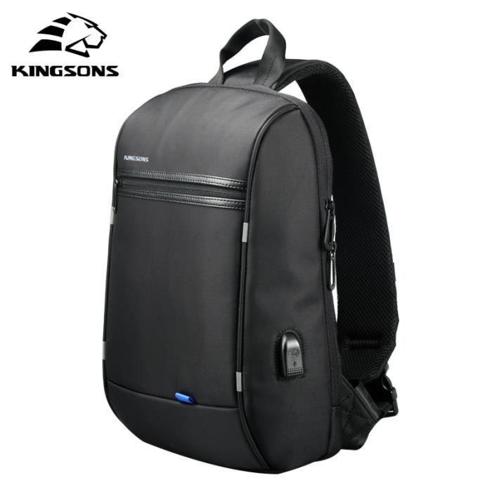 Sac à Dos,Kingsons unique épaule sac à dos hommes petit sac à dos étanche sac à dos pour - Type Black-13 pouces